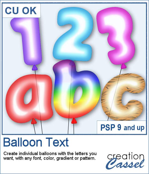 Balloon letters script for PaintShop Pro