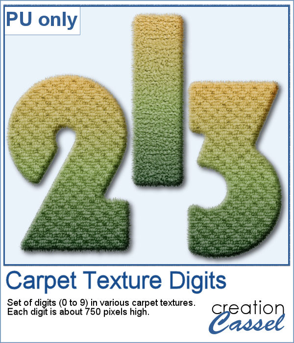 Carpet texture digits in PNG format