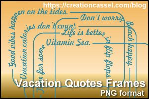 Vacation word frames in png format