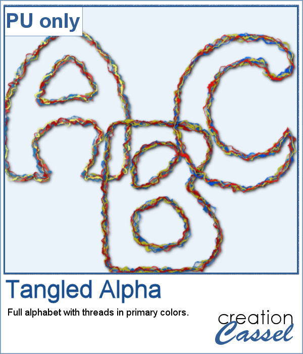 Tangled threads alphabet in png format