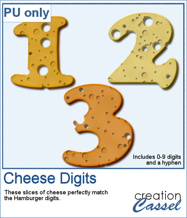 Cheese digits in png format