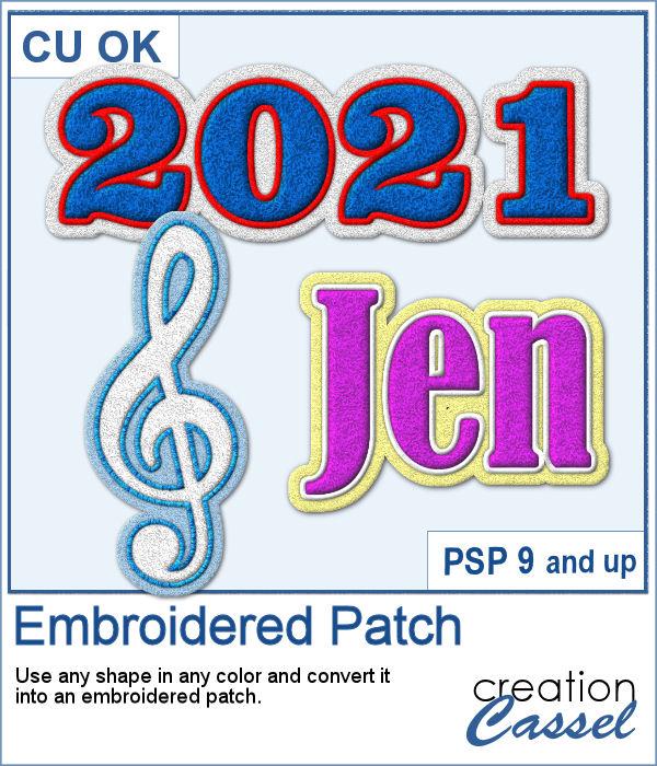 Embroidered Patch script for PaintShop Pro