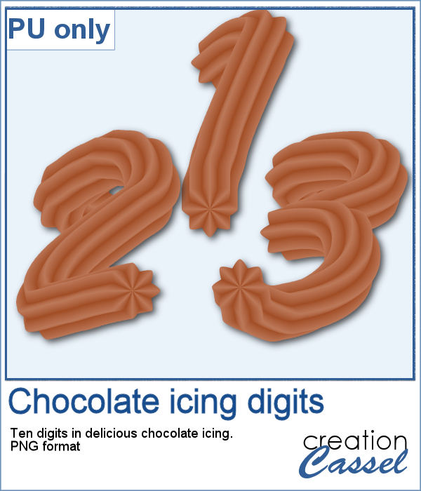 Chocolate icing digits in PNG format