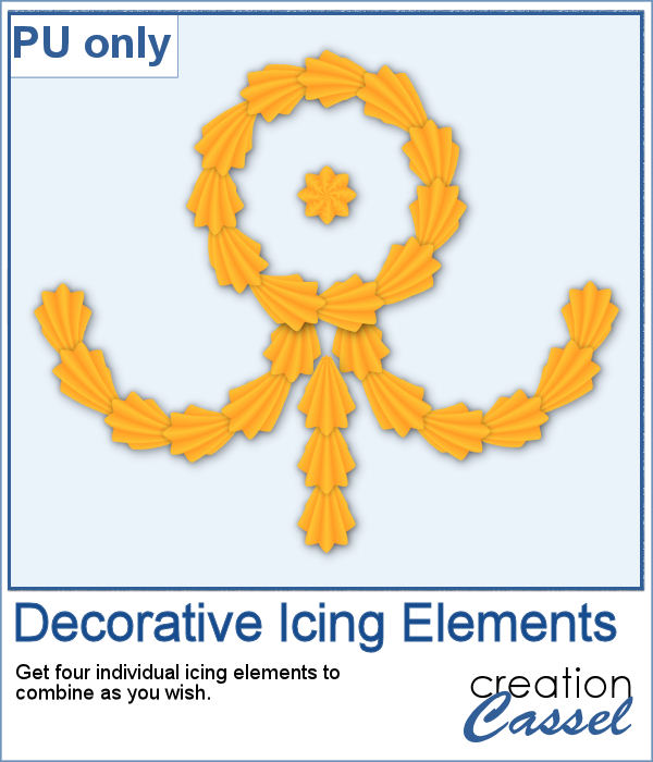 Decorative icing elements in PNG format