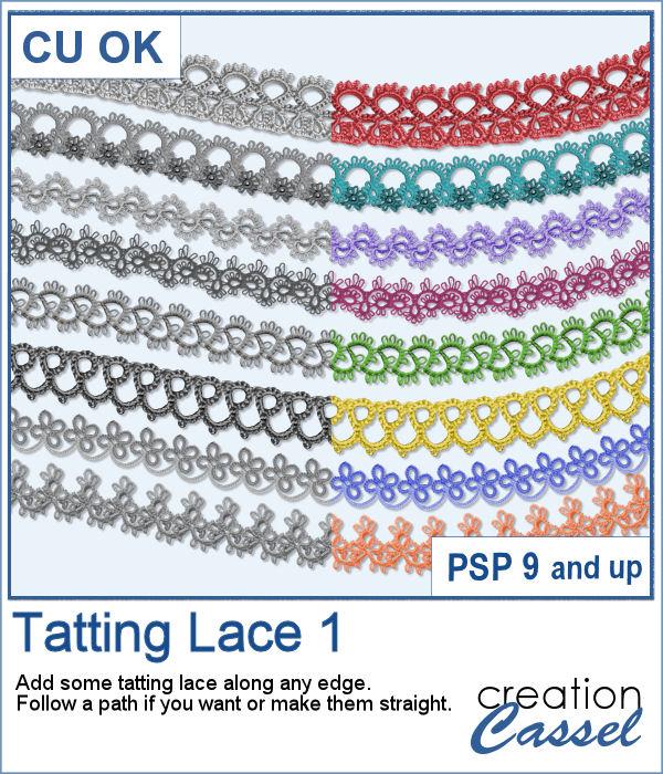 Tatting lace picture tubes for PaintShop Pro