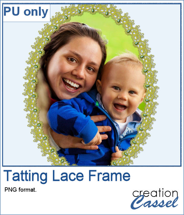 Tatting lace frame in png format